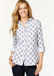 Charter Club Printed Linen Shirt, Only at Macy's