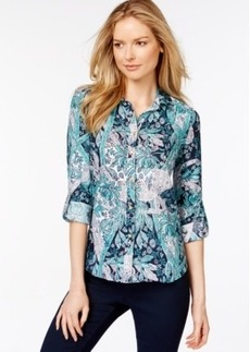 Charter Club Printed Roll-Tab Linen Shirt, Only at Macy's