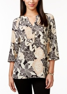 Charter Club Printed Split-Neck Tunic, Only at Macy's