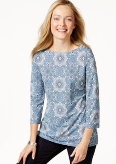 Charter Club Petite Printed Three-Quarter-Sleeve Top, Only at Macy's
