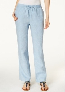 Charter Club Pull-On Drawstring Linen Pants, Chambray Blue
