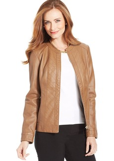 Charter Club Petite Faux-Leather Zip-Front Jacket