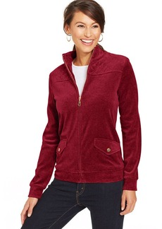 Charter Club Quilted-Shoulder Velour Jacket