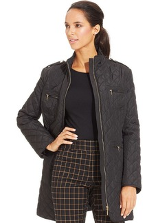 Charter Club Quilted Zip-Pocket Long Coat