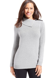 Charter Club Ribbed-Knit Zippered Foldover-Collar Sweater