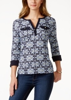 Charter Club Roll-Tab Henley Top, Medallion Print