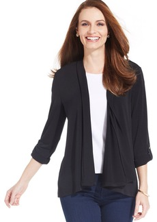 Charter Club Petite Roll Tab-Sleeve Open Cardigan