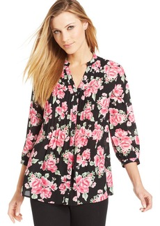 Charter Club Rose Boquet Printed Top