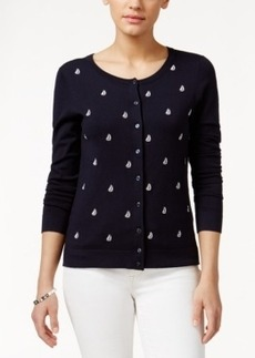 Charter Club Sailboat-Embroidered Cardigan, Only at Macy's