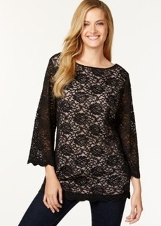 Charter Club Sheer-Sleeve Lace Top, Only at Macy's