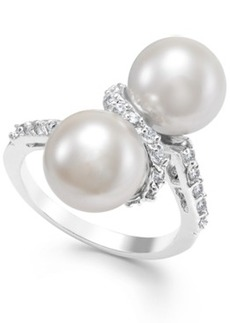 Charter Club Silver-Tone Double Imitation Pearl Crystal Ring