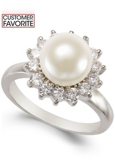 Charter Club Silver-Tone Imitation Pearl and Crystal Ring