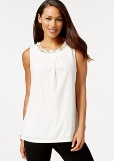 Charter Club Petite Sleeveless Embellished Neckline Top, Only at Macy's