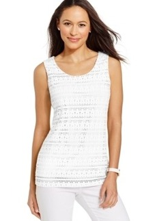 Charter Club Sleeveless Eyelet-Lace Top