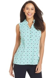 Charter Club Sleeveless Iconic-Print Polo Top