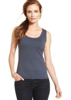 Charter Club Sleeveless Polka-Dot Tank Top