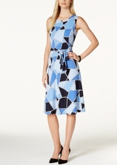 Charter Club Sleeveless Tie-Waist Dress, Graphic Squares Print