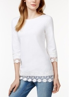 Charter Club Solid Crochet-Trim Top, Only at Macy's
