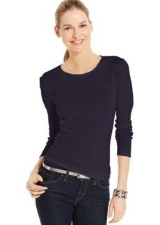 Charter Club Solid Long-Sleeve Pima Cotton Top