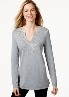 Charter Club Split-Neck Long-Sleeve Top, Only at Macy's