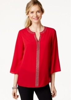 Charter Club Split-Neck Embellished Blouse, Only at Macy's