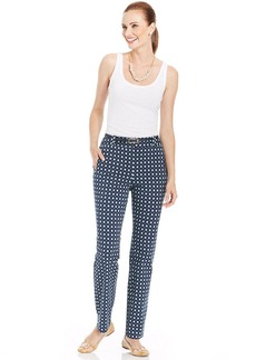 Charter Club Straight-Leg Belted Printed Pants