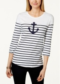 Charter Club Striped Anchor-Graphic Top, Only at Macy's