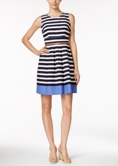 Charter Club Striped Belted Fit & Flare Dress, Only at Macy's