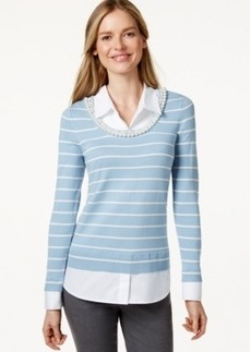Charter Club Striped Imitation Pearl-Collar Sweater, Only at Macy's