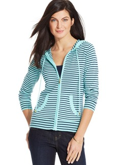 Charter Club Petite Striped Hoodie Sweater