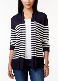 Charter Club Striped Roll-Tab-Sleeve Cardigan, Only at Macy's