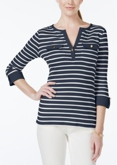 Charter Club Striped Roll-Tab-Sleeve Henley Top, Only at Macy's