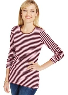 Charter Club Striped Zip-Shoulder Top, Only at Macy's