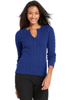 Charter Club Sweater, Long-Sleeve Cable-Knit Scoop-Neck
