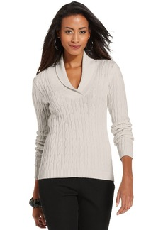 Charter Club Sweater, Long-Sleeve Shawl-Collar Cable-Knit