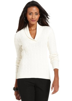 Charter Club Petite Shawl-Collar Cable-Knit