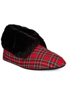 Charter Club Tartan Plaid Bootie Memory Foam Slippers, Only at Macy's