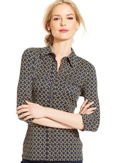 Charter Club Three-Quarter-Sleeve Button-Down Top