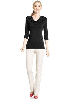 Charter Club Three-Quarter-Sleeve Cowl-Neck Top