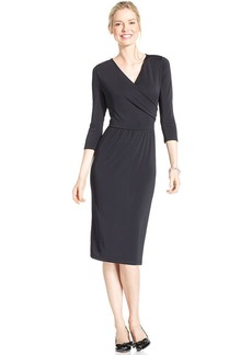 Charter Club Three-Quarter-Sleeve Faux-Wrap Dress