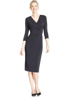 Charter Club Three-Quarter-Sleeve Faux-Wrap Dress
