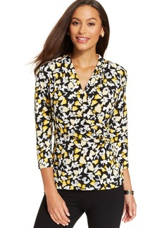 Charter Club Three-Quarter-Sleeve Floral-Print Faux-Wrap Top