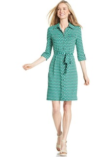 Charter Club Petite Three-Quarter-Sleeve Geo-Print Shirtdress