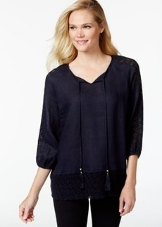 Charter Club Three-Quarter-Sleeve Lace-Detail Top, Only at Macy's