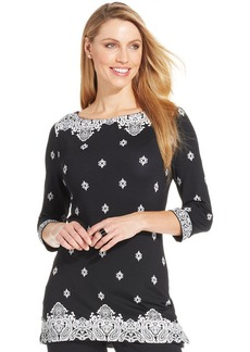 Charter Club Petite Three-Quarter-Sleeve Lace-Print Top