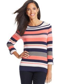 Charter Club Three-Quarter-Sleeve Multi-Stripe Sweater