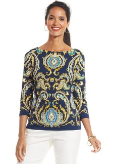 Charter Club Petite Three-Quarter-Sleeve Scarf-Print Boat-Neck Top