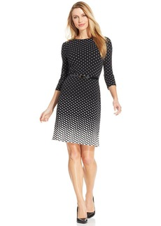 Charter Club Three-Quarter-Sleeve Polka-Dot Belted Dress