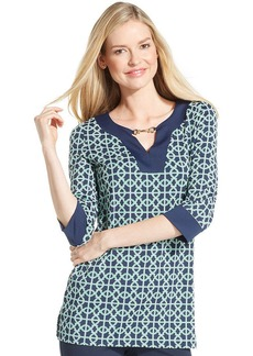 Charter Club Three-Quarter-Sleeve Printed Keyhole Tunic