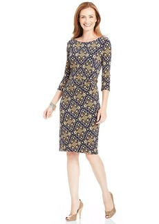 Charter Club Three-Quarter-Sleeve Scarf-Print Shift Dress
